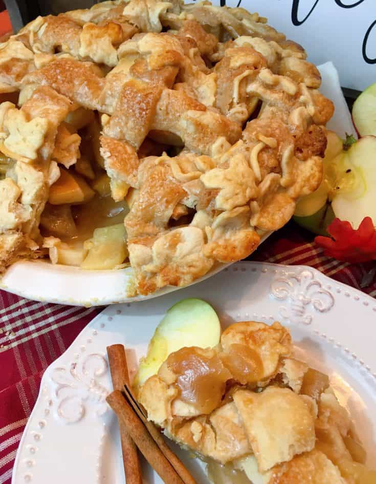 Spiced Caramel Apple Pie is a delicious twist on traditional dessert. Delicious firm, slightly tart apples are coated in a sweet subtle spiced caramel sauce and baked to perfection in a delicious flaky lattice crust.