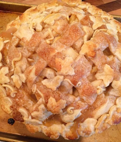 Spiced Caramel Apple Pie fresh out of the oven