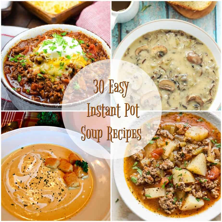 collage of instant pot soup recipe photos
