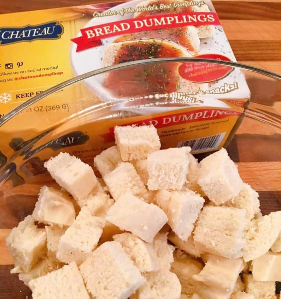 Chateau Bread Dumplings cubed and in a bowl