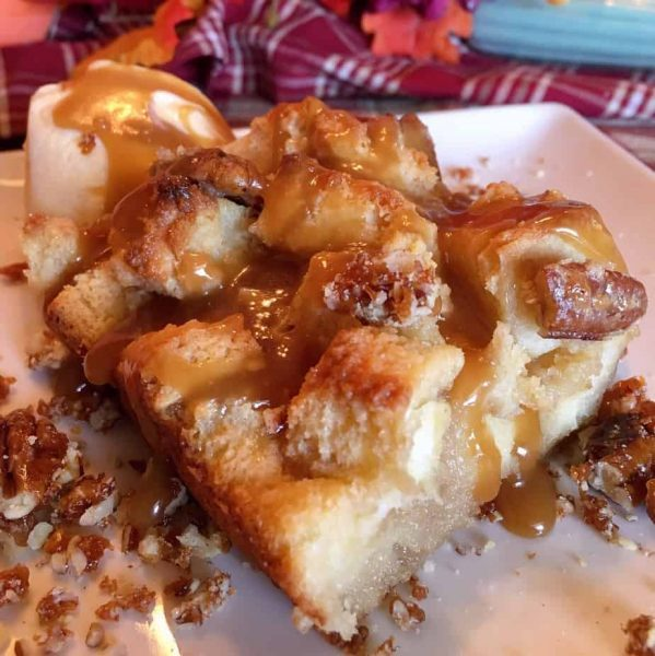 Slice of Easy Pecan Pie Bread Pudding with Salted Caramel Sauce