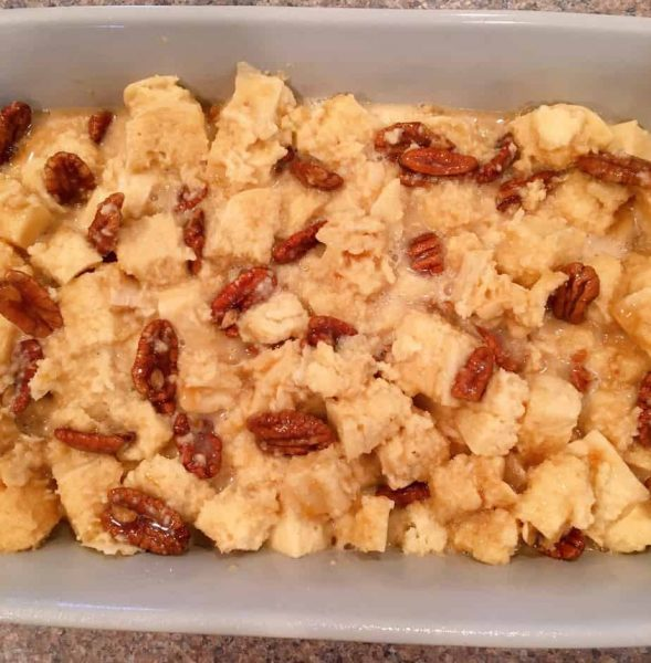 Bread Pudding in baking dish ready to go into the oven.