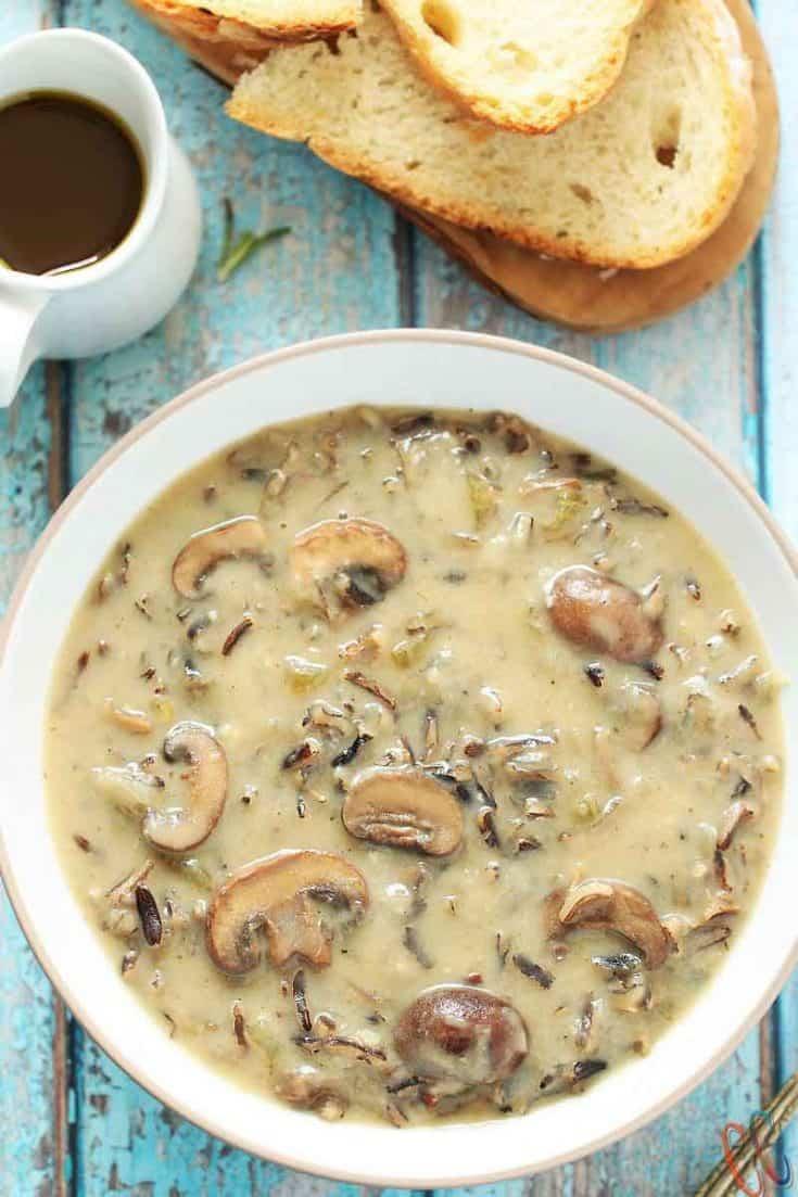 Instant Pot Vegan Wild Rice Mushroom Soup