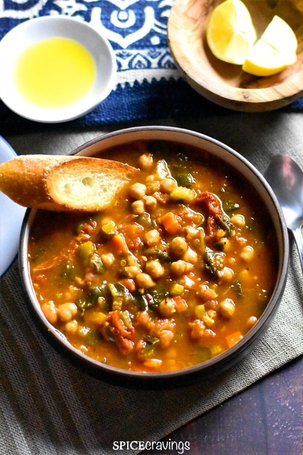 Moroccan Chickpea Soup in Instant Pot