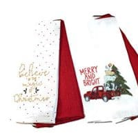 Twisted Anchor Trading Co Set of 4 - Holiday Christmas Kitchen Towels Gift Set with Vintage Truck Christmas Towel - Christmas Kitchen Towel Set - Comes in Organza Gift Bag