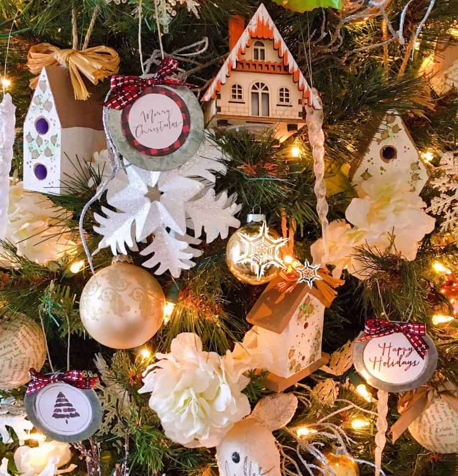 Holiday Ornaments made out of gift tags
