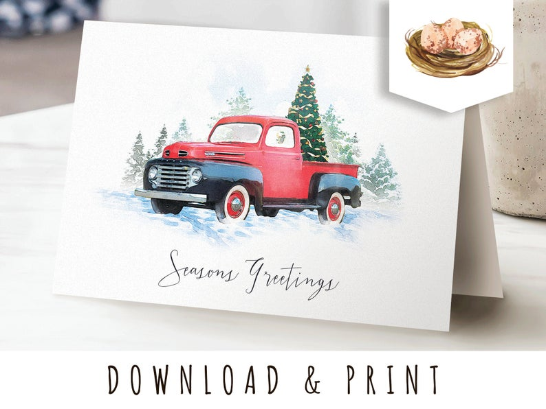 Vintage Truck Printable Christmas Card