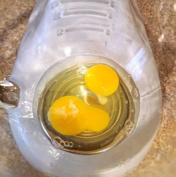 eggs in mixing bowl of mixer