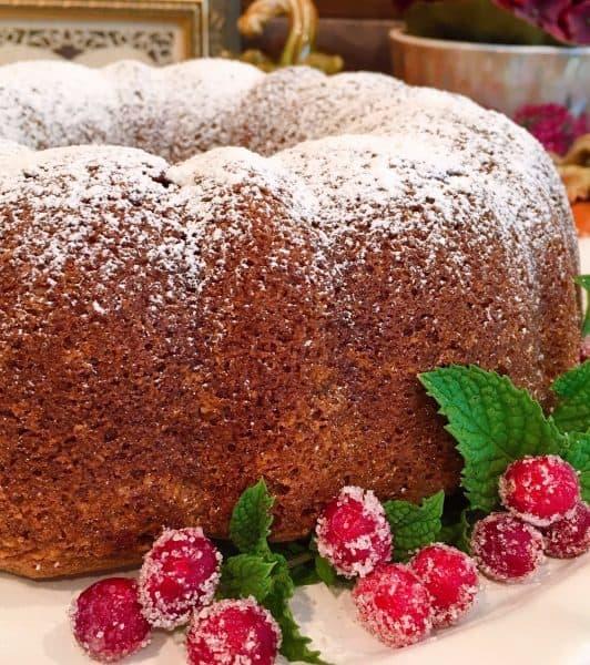 Close up of Holiday Pumpkin Cranberry Cake