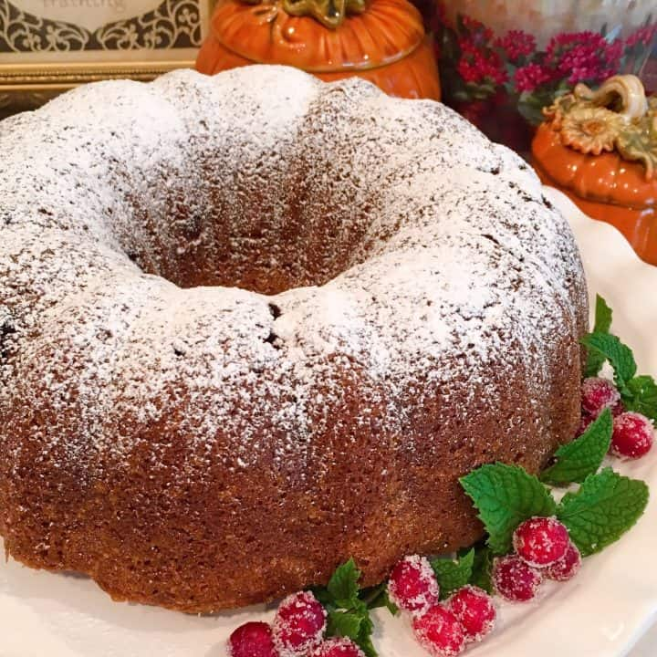 Holiday Pumpkin Cranberry Bundt Cake with garnish