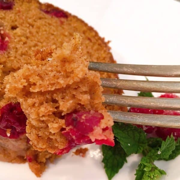 forkful of cranberry pumpkin cake