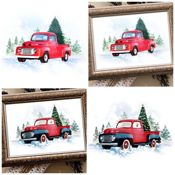 Watercolor Vintage Red Truck Printables