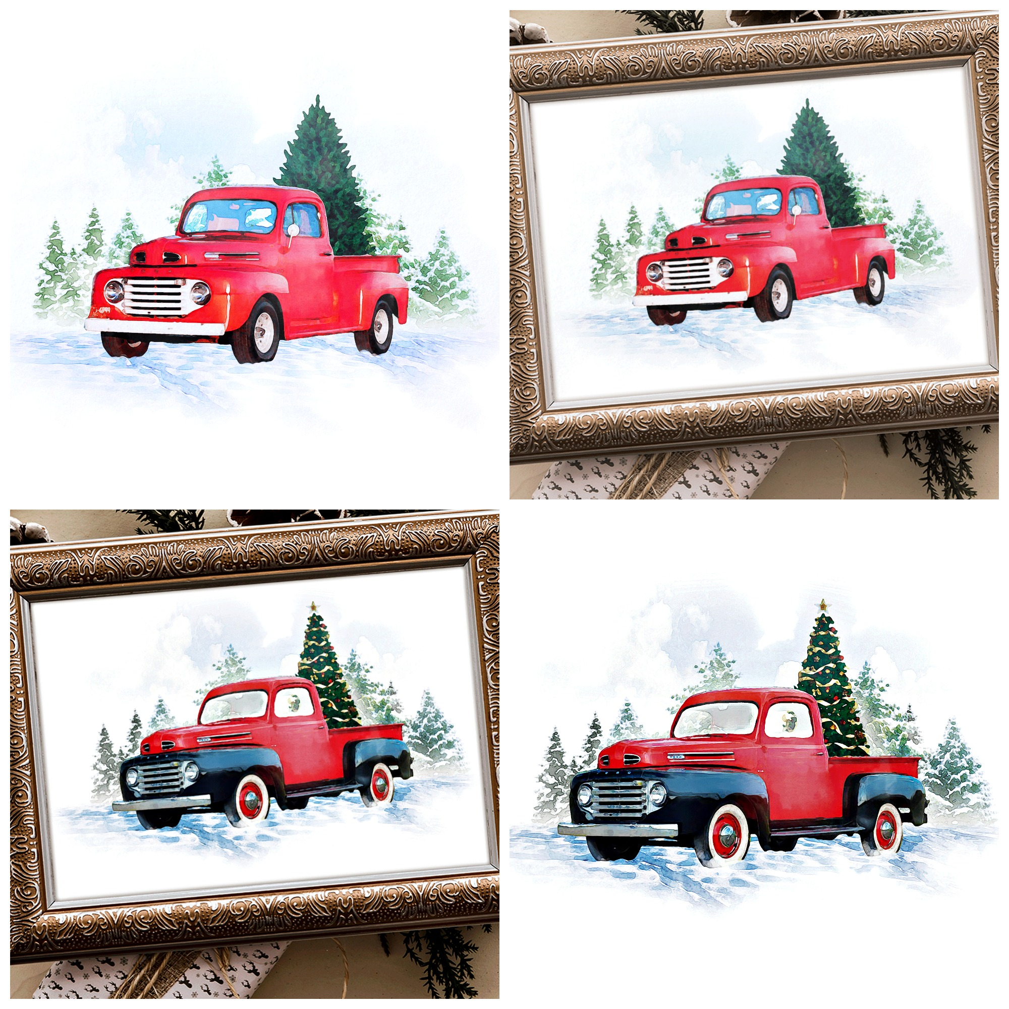 Water Color Vintage Red Truck Printables