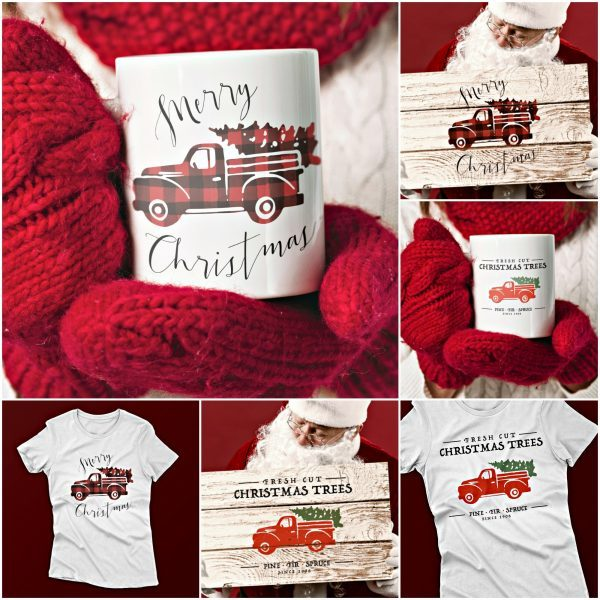 SVG Vintage Christmas Truck Crafting items