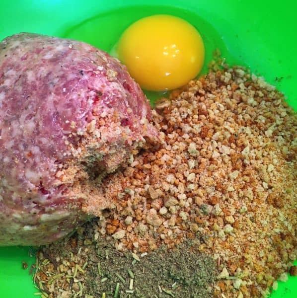 Stuffing Crumbs, Sausage, egg for sausage balls