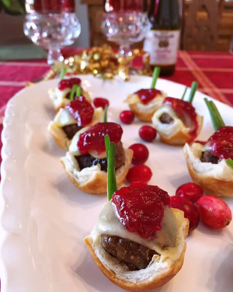 savory sausage cranberry puff pastry bites