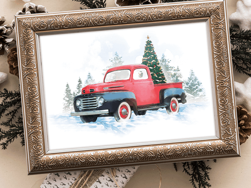 Vintage Truck Printable Framed