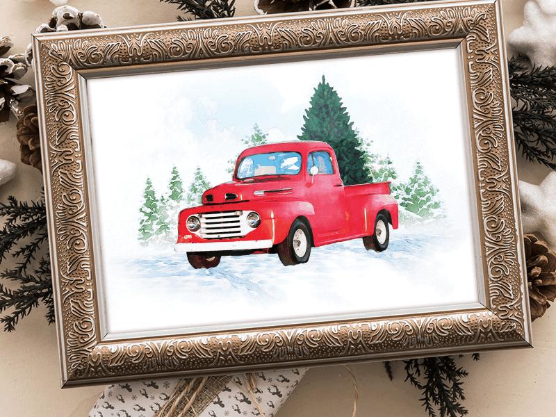 Vintage Red Truck Printable
