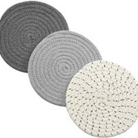 Potholders Set Trivets Set 100% Pure Cotton Thread Weave Hot Pot Holders Set (Set of 3) Stylish Coasters, Hot Pads, Hot Mats,Spoon Rest For Cooking and Baking by Diameter 7 Inches (Gray)