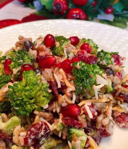 Broccoli, Cranberry, and Pomegranate Salad on serving plate