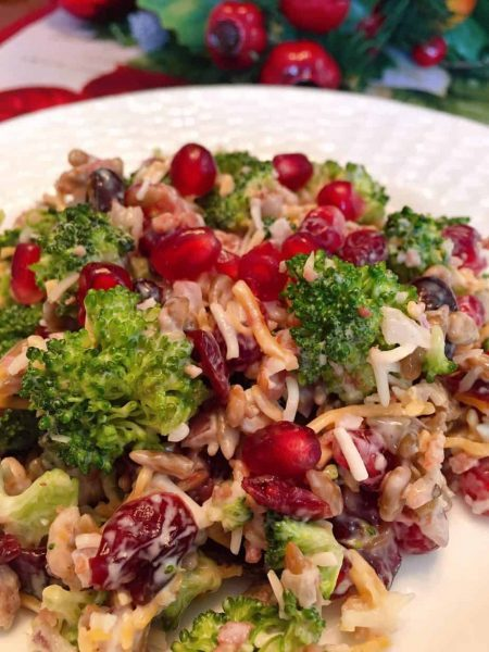Broccoli Cranberry and Pomegranate Salad on a serving plate