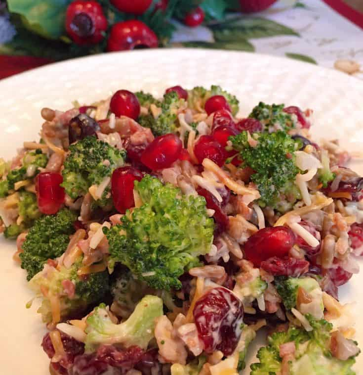 Broccoli, Cranberry, and Pomegranate Salad with tender bits of fresh broccoli, bacon bits,  dried cranberries, sunflower seeds, grated cheese, red onion, and fresh pomegranate seeds with a creamy dressing. A delicious salad that's a perfect side for your Holiday meals.