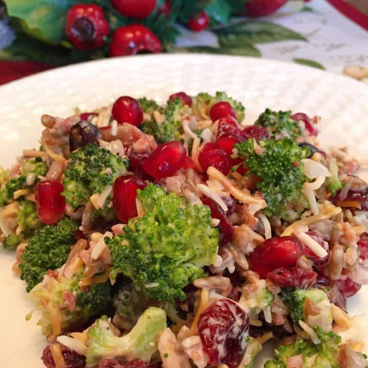 Broccoli, Cranberry, and Pomegranate Salad on a plate