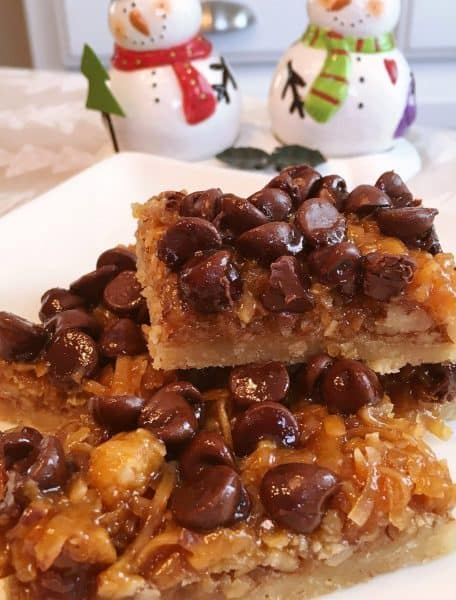 Stacks of easy chocolate caramel-pecan bars