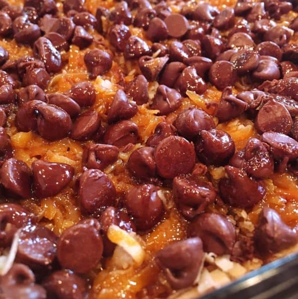 Easy Chocolate Caramel Pecan Bars in baking dish after baking