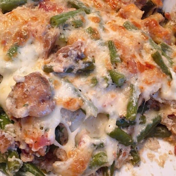 Fresh Green Bean Casserole in casserole dish