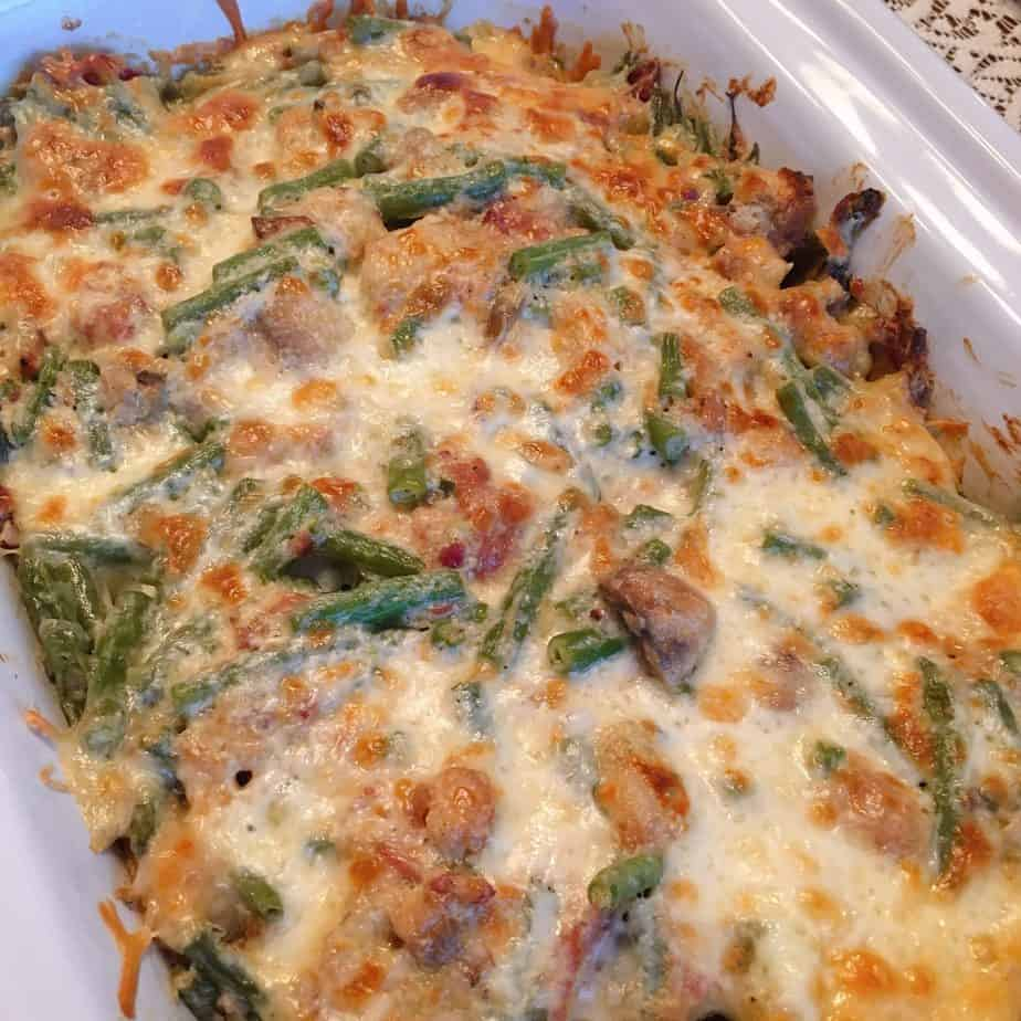 Green Bean Casserole in the dish