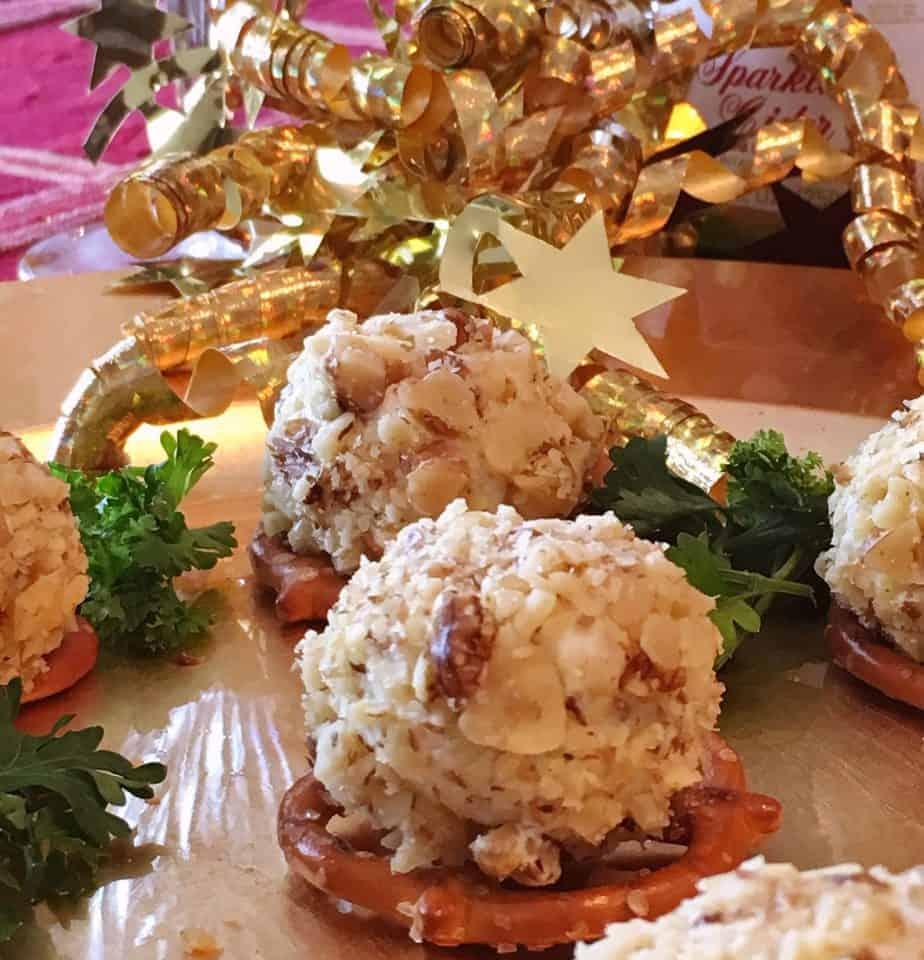 Mini blue Cheese walnut balls served on pretzels