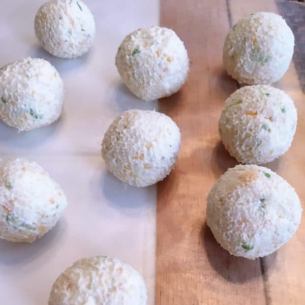 cheese mixture rolled into balls