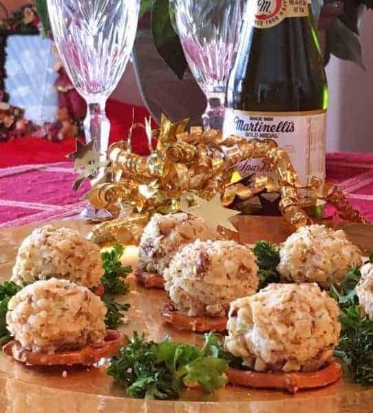 Mini blue cheese walnut balls on pretzels.