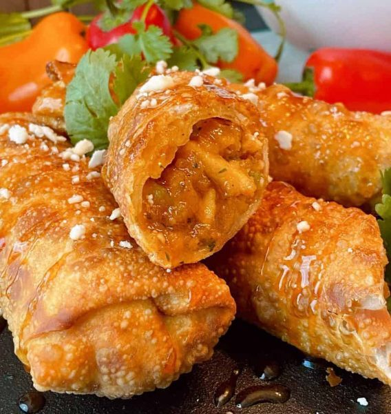 Sticky Buffalo Chicken Egg Rolls