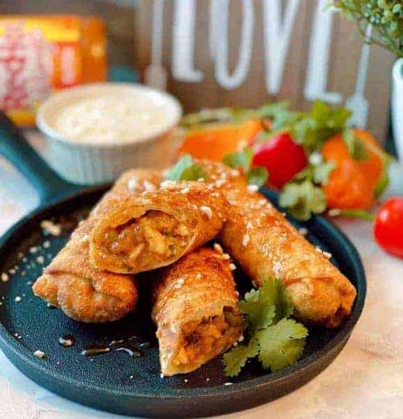 Buffalo Chicken Egg Rolls with dipping sauces
