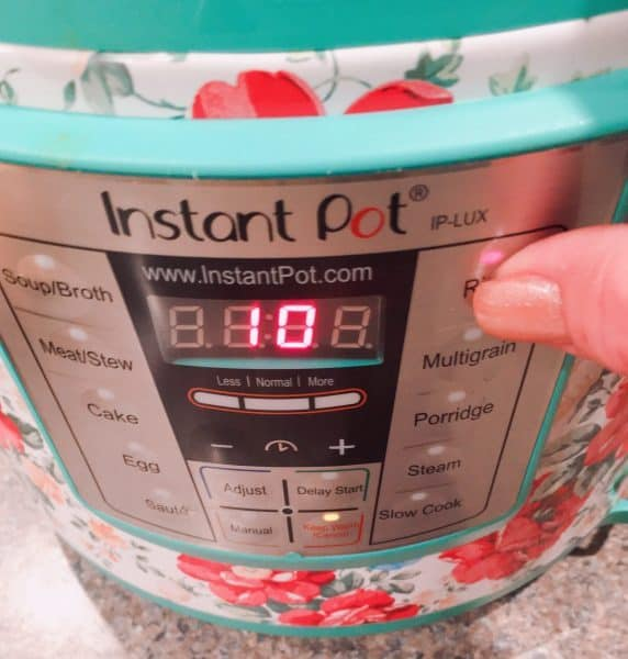 selecting the rice setting on your instant pot.