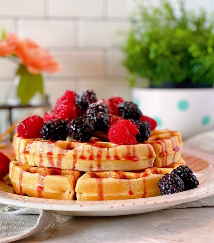 Easy Homemade Belgian Waffles are made from scratch using items you have in your pantry to create a classic fluffy buttery crispy waffle with deep nooks to capture your favorite syrup! A great easy recipe your family is sure to enjoy!