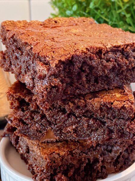 close up of homemade brownies