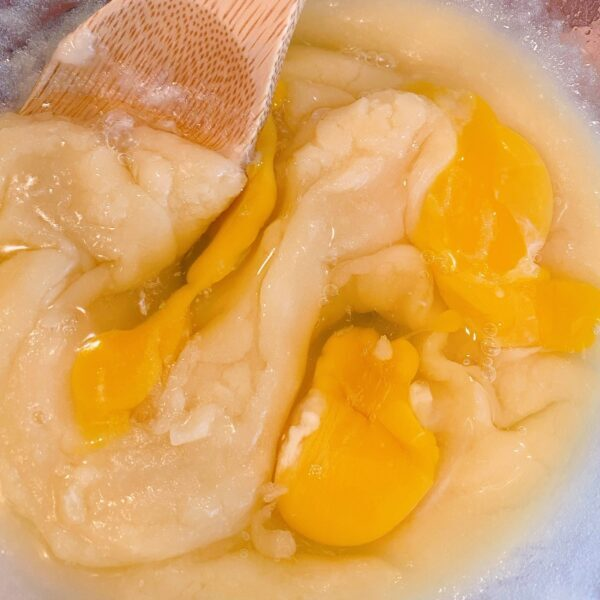breaking egg yolks in batter