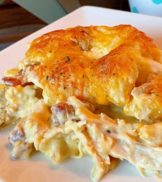 serving of Chicken Biscuit bubble bake casserole