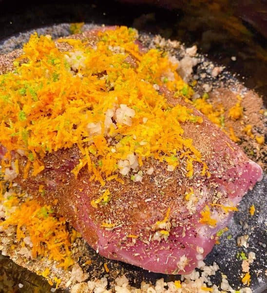 Pork Roast topped with citrus zest