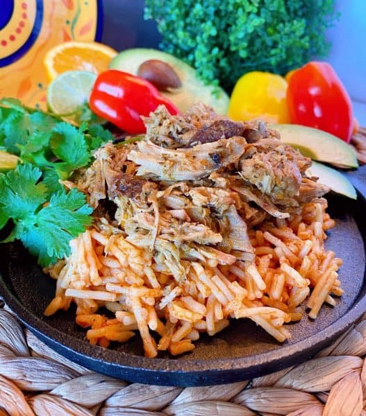 Slow Cooker Cuban Pork on Spanish Rice