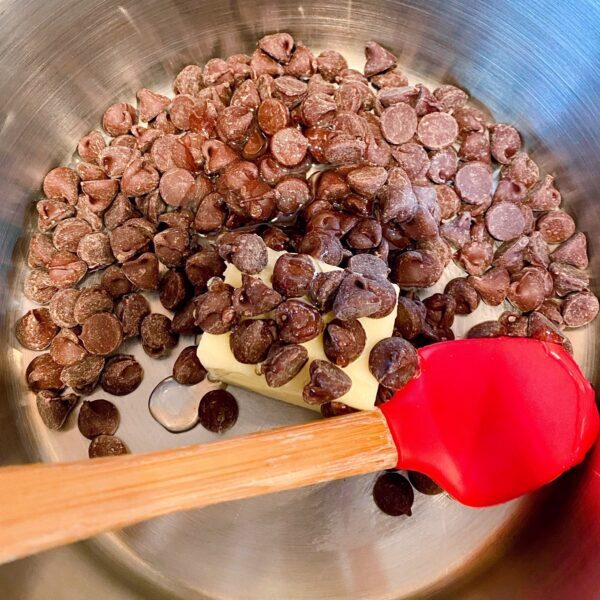 melting the chocolate chips for the glaze.
