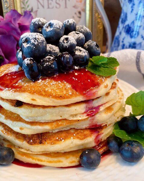 Stake of blueberry pancakes