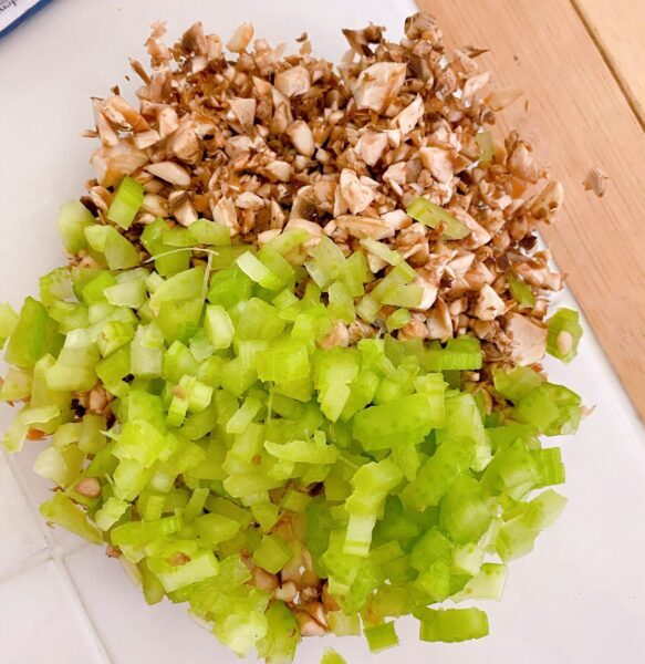 sliced celery, onion, and mushrooms