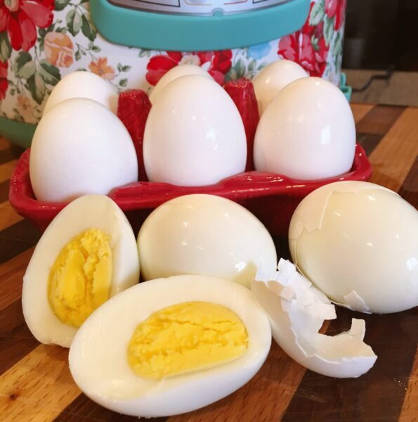 Instant Pot Hard Boiled Eggs on a counter
