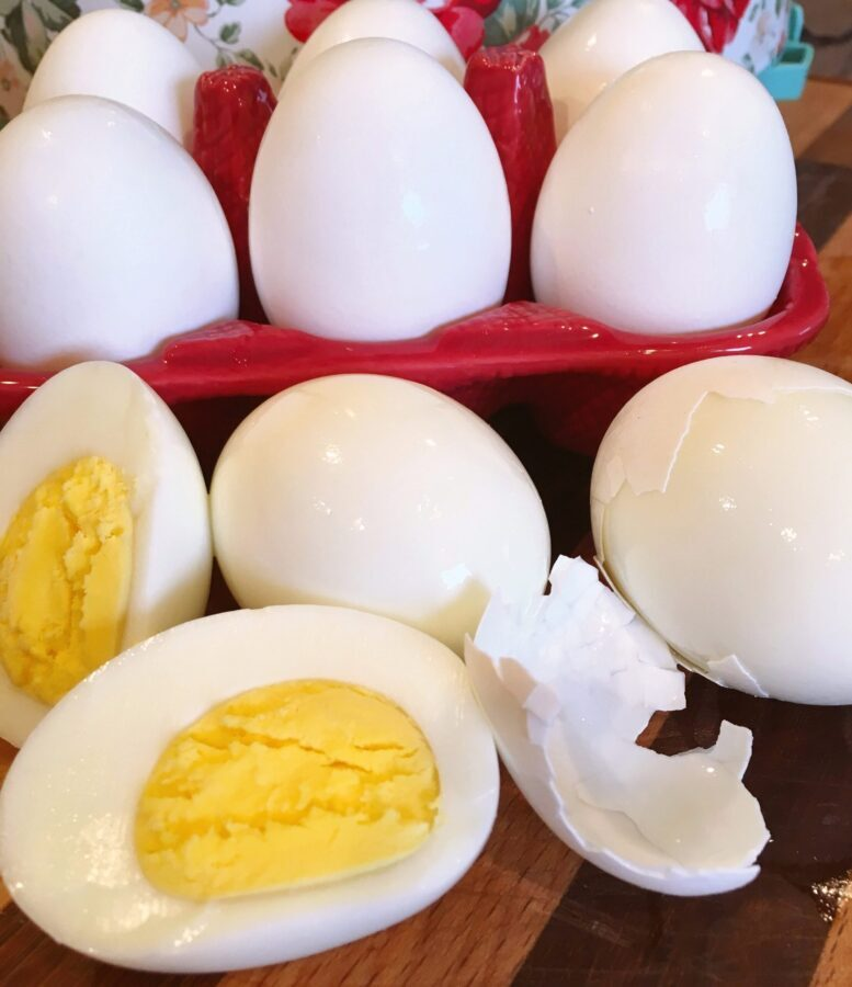 Instant Pot Hard Boiled Eggs with one cut in half