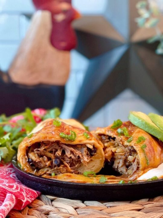 Oven Fried Chimichanga cut open and ready to eat