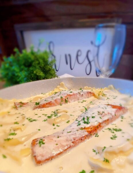 Salmon in cream sauce with Lobster ravioli